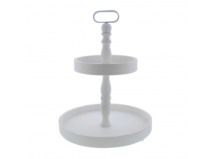 Etagere 2-traps rond wit